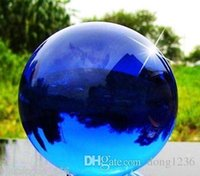 Wholesale Crystal Shoe Ornament - New Natural Quartz Blue Magic Crystal Healing Ball Sphere 80MM+Stand