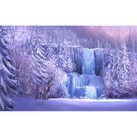 Wholesale Wallpapers Trees - Snow Covered Pine Trees Icefall Forest Photography Backgrounds Frozen Waterfall Winter Scenic Wallpaper Studio Photo Shoot Backdrop