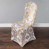 special chairs - Wedding Chair Cover European Gold Stamp Chair Slipcover Special Gold Silver Stamp High End Elastic Wedding Chair Covers