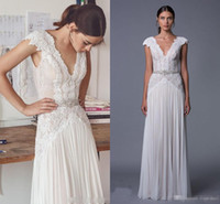 Wholesale Red White Wedding Dreses - Lihi Hod 2017 Boho Wedding Dreses Sexy Illusion Lace Chiffon Low Open Back Wedding A-Line Beach Autumn Vestido de Novia Bridal Gowns Cheap