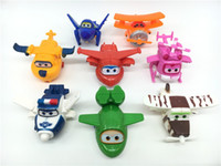 Wholesale Model Airplane Collection - 8PCS Super Wings Plane Mini Airplane Toys Aircraft Robot Model Cartoon boys Gift Toppers Collection anime toys juguet brinquedos