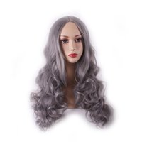 Wholesale Costumes Wigs Cheap - WoodFestival women grey wig long curly wigs fiber synthetic lolita wig ladies natural cheap hair wigs charming costume