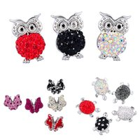 Mix Styles Cute Animal Shape Inlaid Rhinestone Chunk Ginger Buttons Butterfly Tortoise Owl Charm Bricolage Bijoux Accessoires N150S