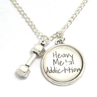 Wholesale Heavy Metal Jewelry Wholesale - 12pcs lot Heavy Metal Addiction Necklace, Fitness Jewelry Dumbbell, Engraved Hand Hammered Jewelry