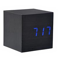 Wholesale Mini Clock Temperature - Wholesale-008-10 Mini Cube Shaped Voice Activated Blue LED Digital Wood Wooden Alarm Clock with Date  Temperature (Black)