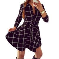 Wholesale Women Checked Shirts - Wholesale- Explosions 2015 Leisure Vintage Dresses Autumn Fall Women Plaid Check Print Spring Casual Shirt Dress Mini Q0035