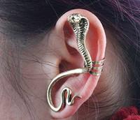 ingrosso orecchini del serpente dell'oro dell'annata-Punk Vintage serpente dell'orecchio polsini gotica d'argento antico / oro Piercing clip orecchie orecchini Moda StudsWomens