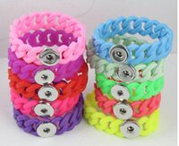 Wholesale Stretch Bracelets Personalized - DIY Personalized Silver Noosa Snap Chunk Jewelry Newest Fashion Silicone Stretch Bracelets Fit 18mm Snap Buttons
