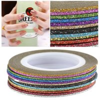 Wholesale Line Diy Decoration - 12Pcs Mixed Colors Nail Art Shiny Sticker Rolls Thin Striping Tape Glittery Line DIY Styling Nail Art Tips Decoration Sticker Fashion W3522
