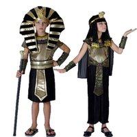 kleopatra cadılar bayramı kostümleri toptan satış-Kostümleri Cadılar Bayramı Kostümleri Erkek Kız Eski Mısır Mısır Firavunu Kleopatra Prens Prenses Kostüm Çocuk Çocuklar Için Cosplay Giyim