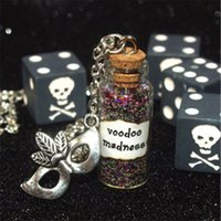 Wholesale Mardi Gras Necklaces - 12pcs Dr. Facilier Shadow Man, Voodoo Madness Magical glass Bottle Necklace with a Mardi Gras Mask Charm Inspired necklace