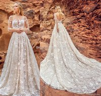 Wholesale Luxurious Wedding Dresses Dubai - luxurious full embellishment Dubai wedding dresses with pockets 2018 oksana mukha bridal 3 4 long sleeves royal train