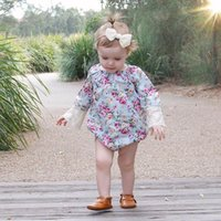 Wholesale Rompers For Sale - 2017 ins hot sale baby girl summer rompers infant toddlers off shoulder floral print lace jumpsuit for 0-24m