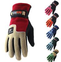 Wholesale Winter Thickening Fleeces Sport - Winter Snow Thicken Warm Ski Gloves Snowboard Mittens Fleece gloves for Outdoor Travel Sports Gloves KKA3600