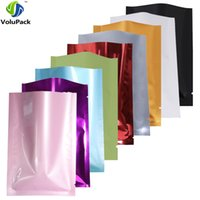 Wholesale Heat Set Fabric - Variety of Sizes recyclable packing bag heat sealing open top aluminum foil Vacuum Package Pouch red flat Mylar bag 100pcs lot
