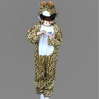 trajes de cosplay de anime meninos venda por atacado-Crianças bonito traje animal para crianças dos desenhos animados longo Giraffe Tema Anime Cosplay Roupa Macacões Hallowmas partido do carnaval do traje das meninas do menino