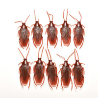 Wholesale Rubber Cockroaches - Wholesale-10 Pcs Special Lifelike Model Simulation Fake Rubber Cockroach Cock Roach Bug Roaches Toy Novelty Prank Funny Trick Joke Toys