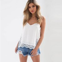 Wholesale Loose Side Shirts - Lace Crochet Hollow Out Summer Tank Top Women 2017 Sexy Side Split Backless Casual Loose White Shirt Tops Beach Vest