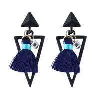 Wholesale Big Trendy Earrings - Trendy Punk Style Big Geometric Triangle Shape Pendant Drop Earrings with Thread Tassels