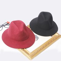 Wholesale Jazz Cap Kids - Girls woolen Hat Mother and daughter Cap kids party hats Children Accessories Kid jazz hat fedora big girls hats black red khaki A0572