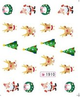 Wholesale Christmas Glitter Nail Stickers - Wholesale- GLITTER WATER DECAL NAIL STICKER Xmas Christmas DEERS GIFT BOX SNOW MAN SY1905-1910
