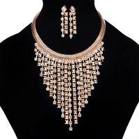 conjunto de joyas de oro chapado en dama al por mayor-2017 Joyería de Las Mujeres Establece Moda Diamante Borla Chocker Collar Pendientes 18 K Chapado En Oro Señora Exagerada Gran Collar 5SETS