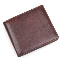 Wholesale Natural Leather Wallet - Natural Cow Leather Short Wallet RFID Blocking Credit Card Case For Men Daily Money Purse 8142
