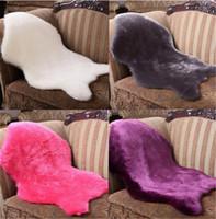 Wholesale Bone Mat - New Design Soft Artificial Carpet Chair Cover Seat Pad Plain Sheepskin Fur Plain Fluffy Area Rugs Washable Bedroom Faux Mat