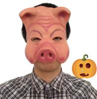traje de cara de cerdo al por mayor-Venta caliente Máscara de cerdo Animal Halloween Costume Theatre Prop Novedad de látex de goma Cerdo Mascarilla de teatro Prop de látex de goma envío gratis