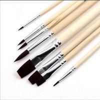 деревянная ручка для волос оптовых-Мода новый Pebeo нейлон волос кисть набор головы деревянная ручка художники гуашь акварель акриловые кисти художественные принадлежности 8 шт./компл.