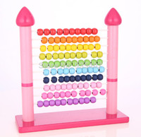 Wholesale pink shelves - Wholesale- New wooden toy Color box Pink color abacus frame wooden shelves are calculated baby toy free shipping