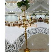 5ft Tall 9 Arm Crystal Globe Gold Floor Candelabros com pendente de cristal pendurado para Decoração Home Party