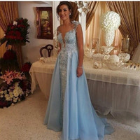 Wholesale purple peplum skirt - Over Skirt Evening Dresses Light Sky Blue Lace Appliques Pearls Sheer Deep V Neck l with Detachable Train Prom Party Gowns