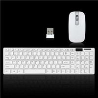 Wholesale Mouse Keyboard Desktop Pc - Modern Design Pure White Ultra Thin Design 2.4GHz Wireless Keyboard + Keyboard Cover + USB Receivcer Mouse Kit for Desktop PC