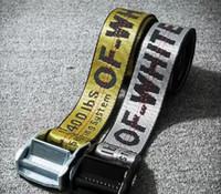 Wholesale Industrial Leather Belting - Real picture OFF WHITE Belts Men Extend Long 200CM Long Fashion Yellow Belt Women Hip hop Streetwear Skateboards Virgil Abloh Industrial Man
