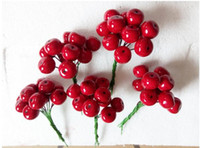 Wholesale Xmas Head Decoration - Christmas decorations 18mm Head Xmas Pearl Red Pomegranate Fruit For Christmas Flower Wreath And Garland 200pcs set