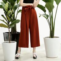 Wholesale Black Bud Pants - The spring of 2017 black bud high waist pants nine female all-match pleated BOW STRAP wide leg pants