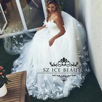 dreamlike wedding dress prices - Dreamlike 3D-Floral Butterfly Appliques A Line Wedding Dress Long Sweetheart White Tulle Robe De Mariage Bridal Gown Women 2017