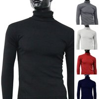 Großhandels- Männer Fashion Thermal Turtle Neck Pullover Slim Fit Langarm Stretch Shirt Top