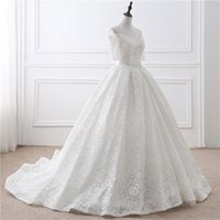 Wholesale 2017 Hot Sale Simple White Wedding Dress Real Photos Ball Gown V Neck Off The Shoulder Short Sleeve Bandage Sweep Train Lace Bridal Gowns