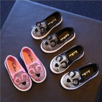 Wholesale Korean Cat Cartoon - Hug Me Girls Shoes Cute Cartoon Cat Ear Shoes 2017 Spring Korean Fashion Bling Shiny Bow Shoes ER-976