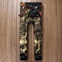 Wholesale Painted Jeans - Wholesale-Brand Designer Mens Biker Jean Trousers Hi-Street Slim Fit Painted Denim Joggers Male Straight Pleated Moto Jeans Pants Q2570