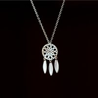 Wholesale Sterling Feather Necklaces - 5pcs lot New Arrival Pure 925 Sterling Silver Dreamcatcher Feather Tassel Pendant Necklace Women Statement Jewelry collar de plata