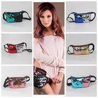 Wholesale Fanny Pack Fashion - 6 Colors Mermaid Fanny Packs Sequin Purse Pocket Sequins Cosmetic Makeup Bags Fashion Bags Women Glitter Tote Storage Bag CCA6638 20pcs