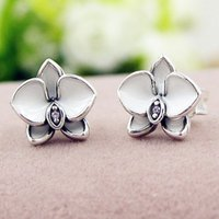 orchid plant gifts - Authentic Sterling Silver Earring White Purple Orchid Studs Earring For Women Wedding Party Gift Fine Jewelry