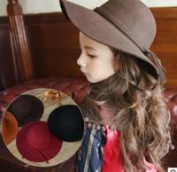 Wholesale Black Felt Cloche - Winter Autumn Girls Hats Kids Fedora Hats Korean Fashion Bow bows Children Caps Wool Felt Crushable Wide Brim Cloche Floppy Sun Cap C2007