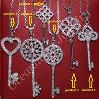 Wholesale Chain Sets For Women - chain choker necklace MMDGEM Lady's 925 Sterling silver 5A Zircon Cz Pave Set Flower Key Pendant Chain Choker Necklace for Women 45cm Long