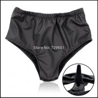 Wholesale Male Chastity Underwear - Rubber Anal plug latex male female masturbation underwear panties with anal dildo penis plug chastity belt sex toy for women