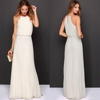 Wholesale Wool Long Sleeve Maxi Dress - Beach Bohemian Dress Sleeveless Summer Sleeveless Maxi Chiffon Dress Long Casual Dresses Pure Color Sleeveless Maxi Chiffon Dress