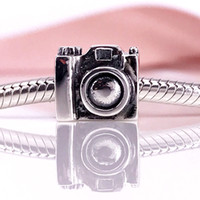 Wholesale Silver Camera Necklaces - Authentic 925 Sterling Silver Camera Charm Fit DIY Pandora Bracelet And Necklace 790961